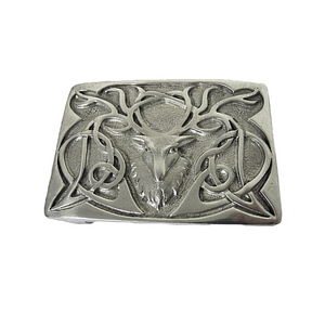 Belt Buckle | Polished Pewter Stag Head