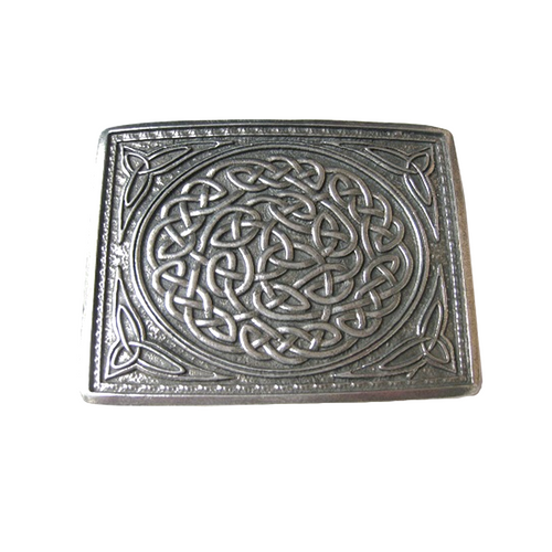 Belt Buckle | Polished Pewter Celtic Knot