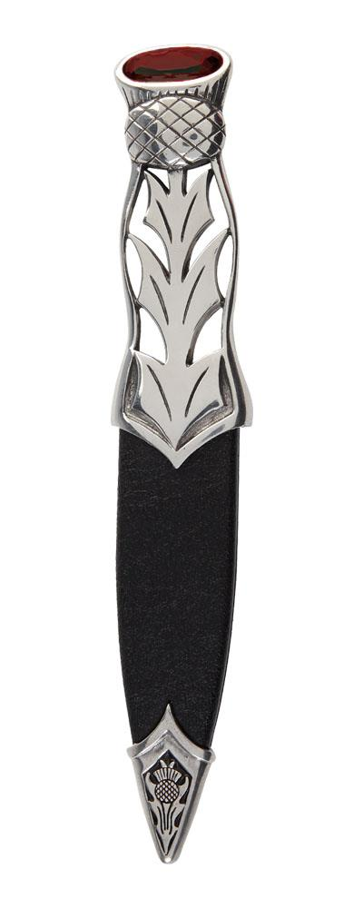 Dress Sgian Dubh | Thistle design in polished pewter with stone top