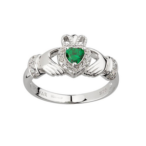 The Scottish Company Claddagh Heart Ring with Green Stone Sterling Silver