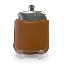 Flask 6oz with Tan Leather Pouch