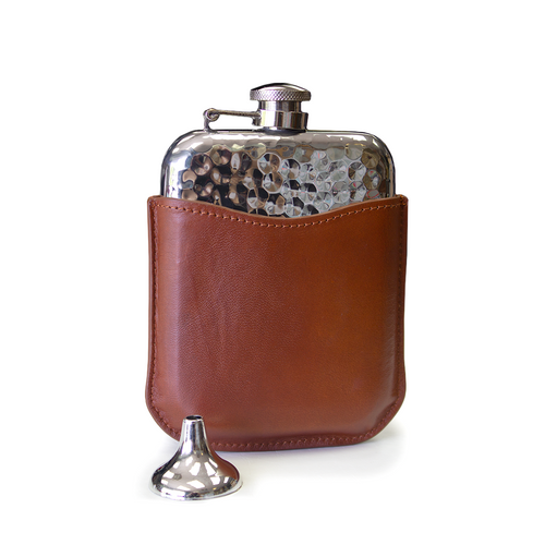 Flasks 6oz Hammered with Pouch | The Scottish Company | Toronto