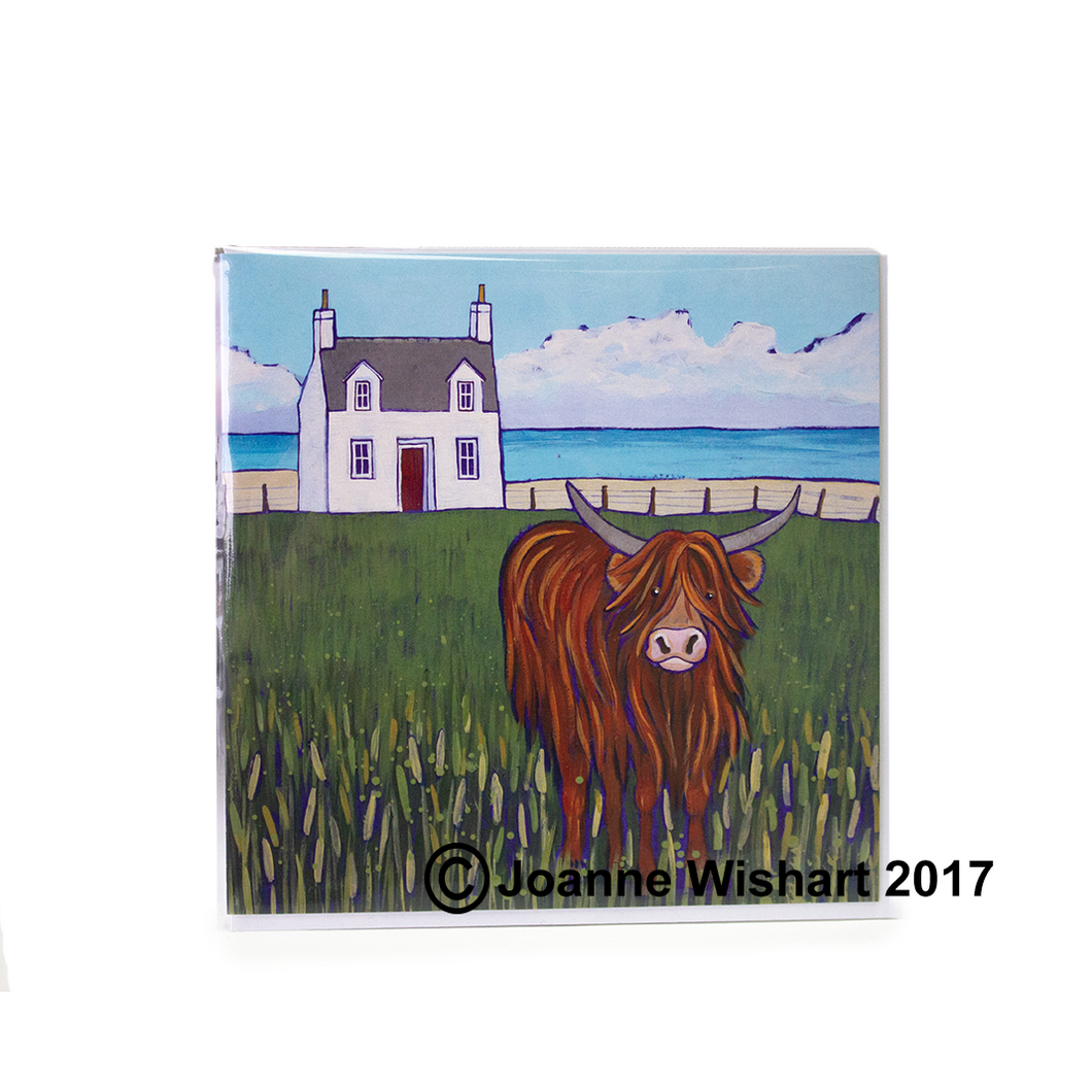Joanne Wishart 'Highland Coo and House' Greetings Card | The Scottish Company | Toronto