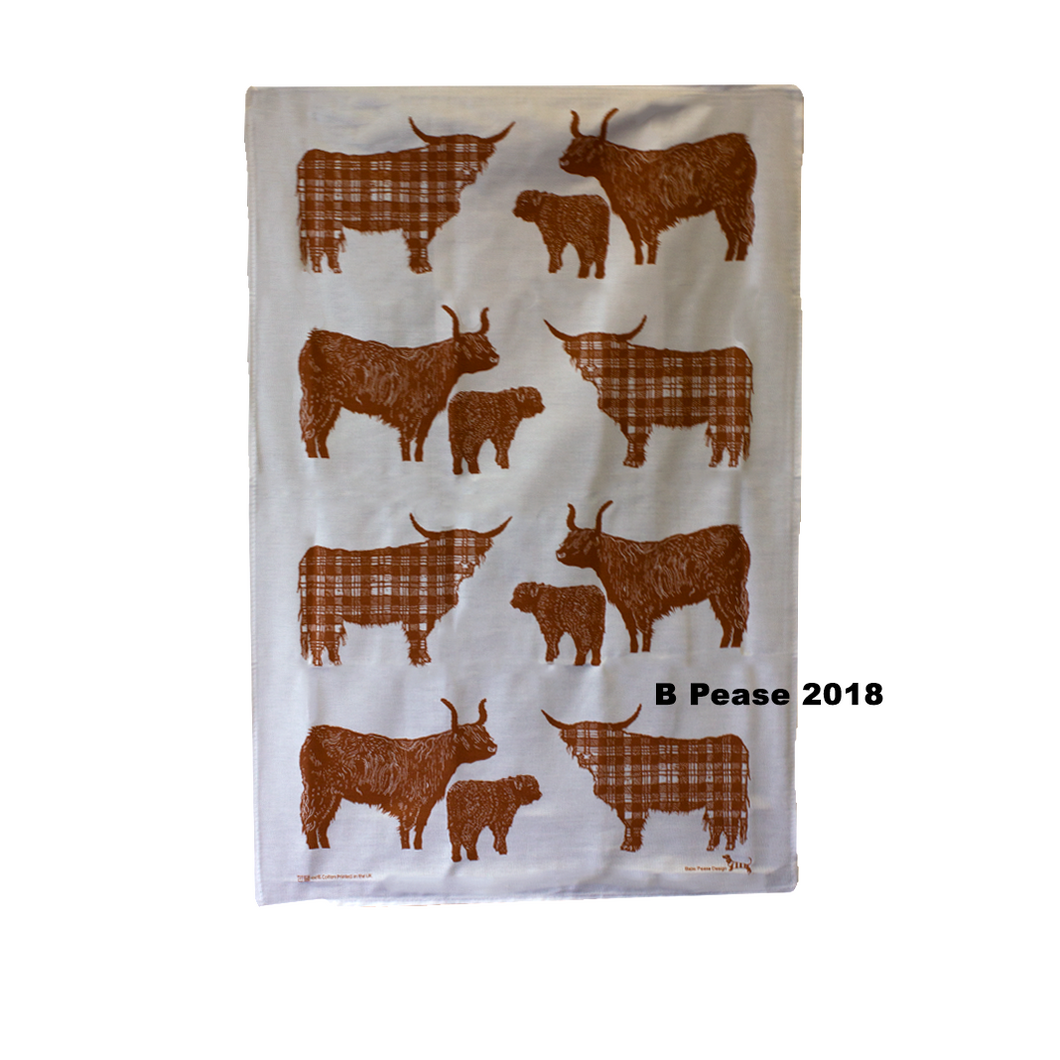 Babs Pease Design Highland Cow Tea Towel | The Scottish Company | Toronto