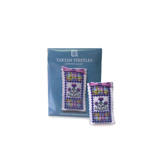 Art Pewter Tartan Thistles  Cross Stitch Lavender Sachet Kit | The Scottish Company | Toronto Canada