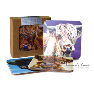 Lauren's Cows Highland Cow Coaster Set | The Scottish Company | Toronto
