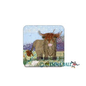 Emma Ball | Scottish Highlands Single Coaster - Ginger Coo