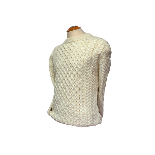 West End Knitwear | Aran Knit Crew Neck Sweater