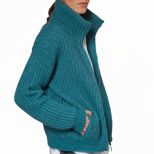 Fisherman out of Ireland Turquoise Zipper Cardigan