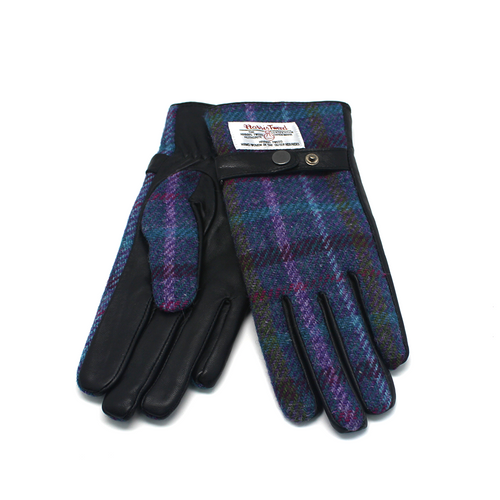 Glen Appin Harris Tweed ladies gloves blue and purple