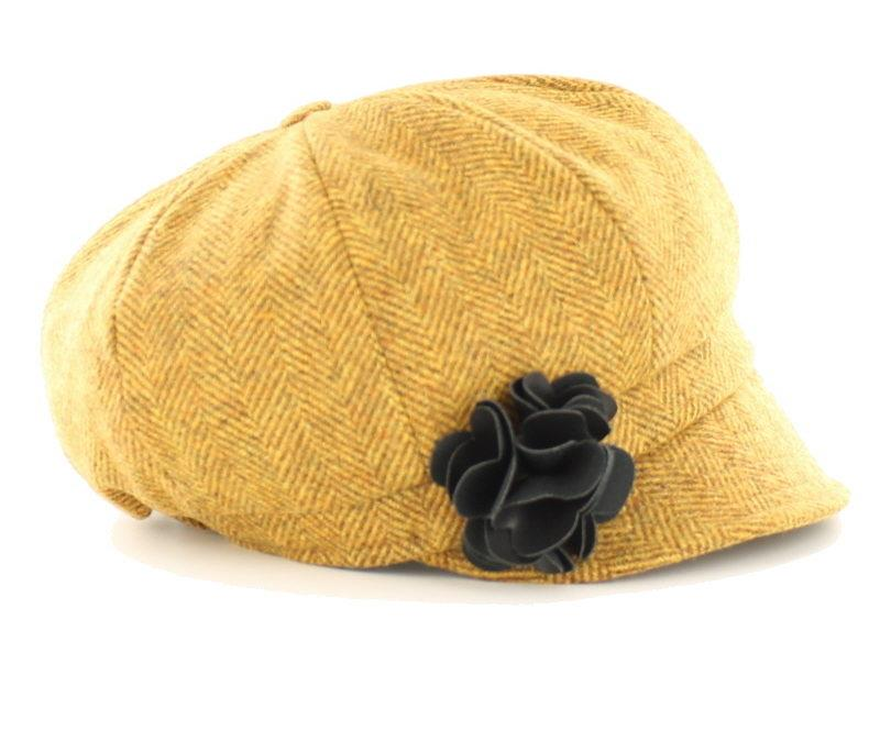 Mucros Weavers Newsboy Hat Yellow Tweed | The Scottish Company