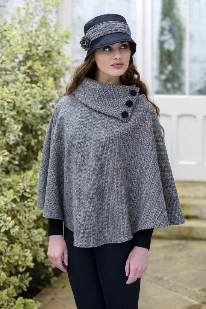 Mucros Weavers Poncho Grey Herringbone