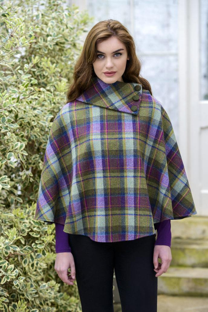 Mucros Weavers Poncho Purple and Green Plaid