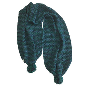 McConnell Basketweave Bobble Scarf - Jade | The Scottish Company