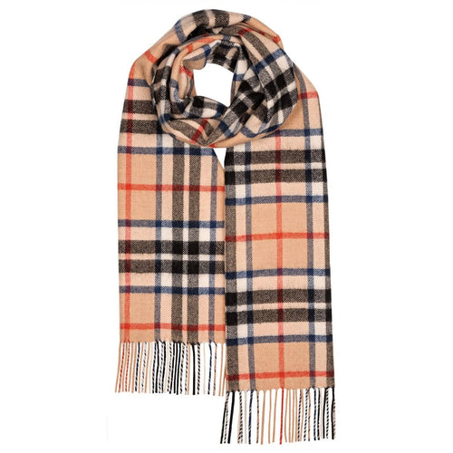 Lochcarron Darwin oversized Thomson Camel Lambswool scarf | The Scottish Company