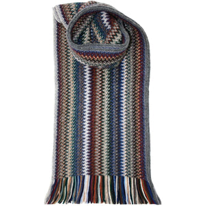 Lochcarron Zig Zag Kniited Wool Scarf - Cappuccino | The Scottish Company