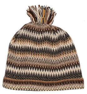 Lochcarron Zig Zag knitted wool hat - Havana | The Scottish Company