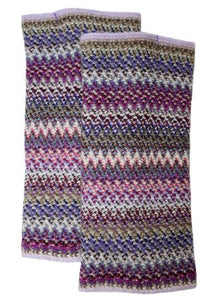 Lochcarron Zig Zag knitted Wool fingerless gloves - Violet | The Scottish Company