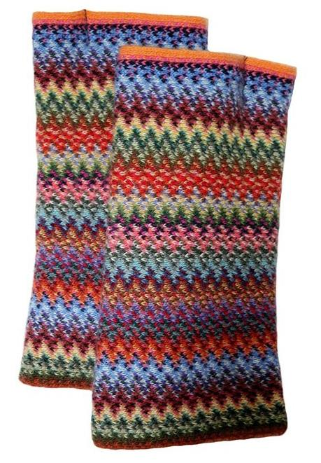 Lochcarron Zig Zag knitted wool fingerless gloves - Rainbow | The Scottish Company