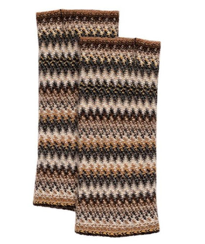 Lochcarron Zig Zag knitted wool fingerless gloves - Havana | The Scottish Company