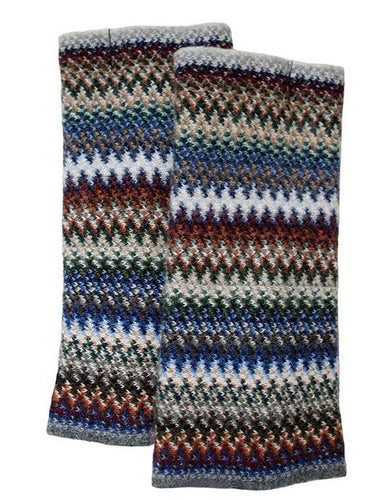 Lochcarron Zig Zag Knitted wool fingerless gloves | The Scottish Company