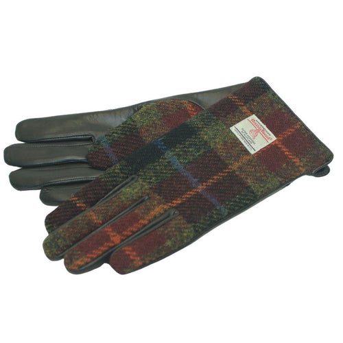 Harris Tweed & Brown Leather Women's Gloves