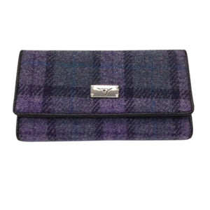 Harris Tweed Wallet Purple Check | The Scottish Company