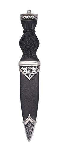Dress Sgian Dubh | Thistle Design in Polished Pewter with Plain Top