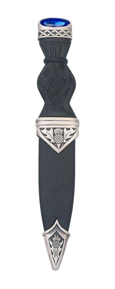Dress Sgian Dubh | Thistle Design in Matte Pewter with Stone Top