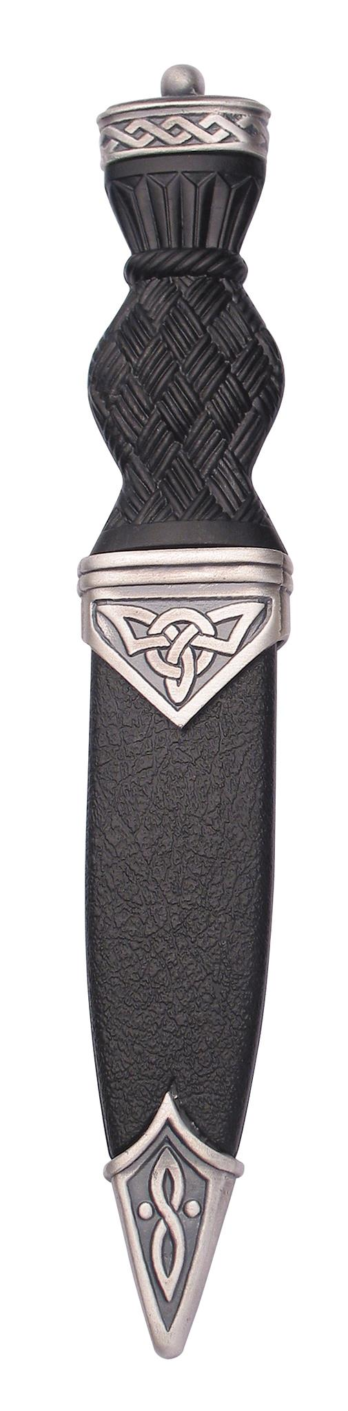 Dress Sgian Dubh | Celtic design in matte pewter with plain top