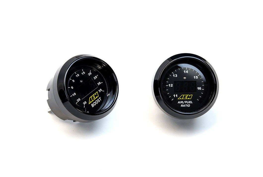 AEM 2 Gauge Set - 52mm Digital Boost Gauge and UEGO Air-Fuel Ratio Gauge