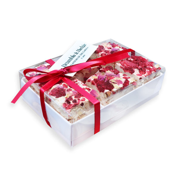 Raspberry, Caramelised White Chocolate & Rose Praline Nougat 6 Pack - 180g