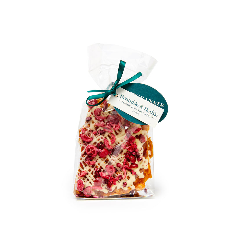Pomegranate, Cranberry, Orange & White Belgian Chocolate Peanut Brittle