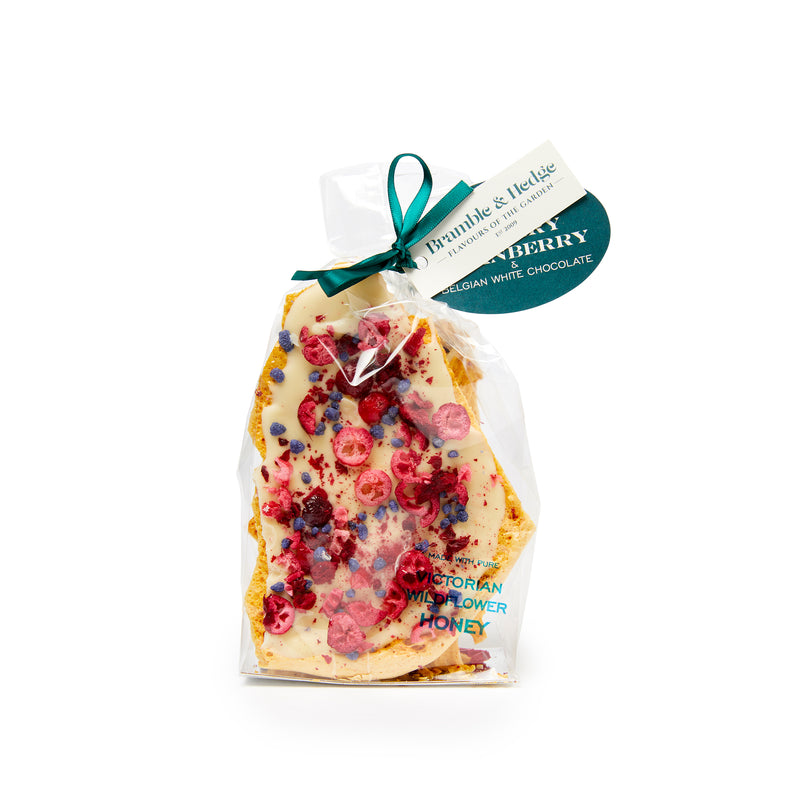 Sour Cherry, Cranberry & Candied Violet Honeycomb - 200g