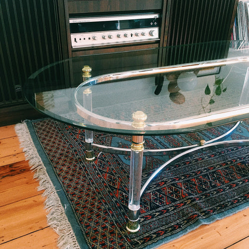 70s LUCITE & GLASS COFFEE TABLE
