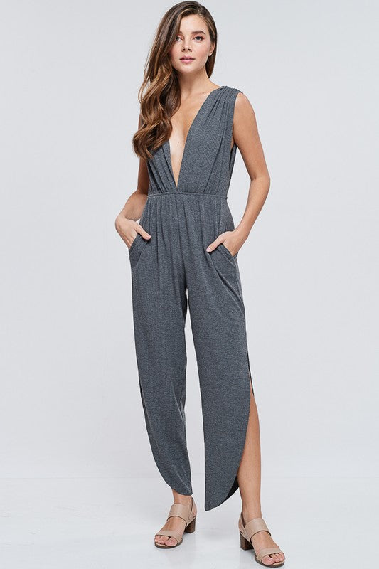 Grey Jersey Jumpsuit