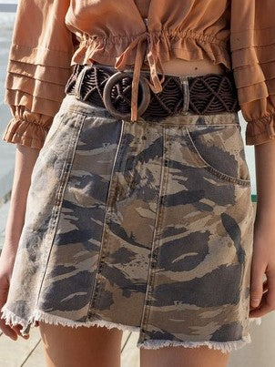 Distressed Camo Mini Skirt