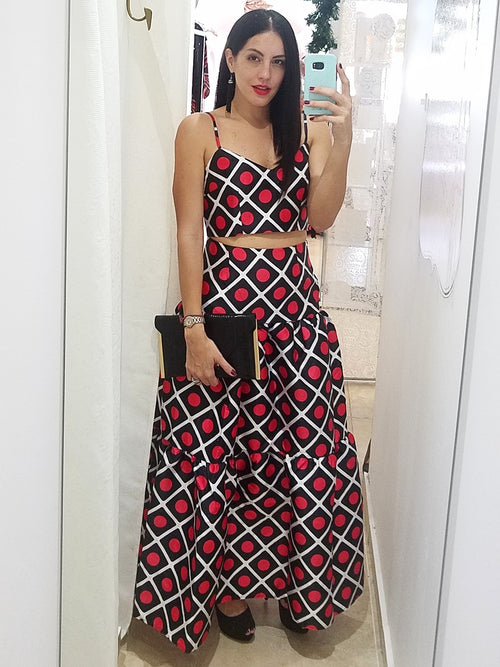 Red Checkers Skirt Set