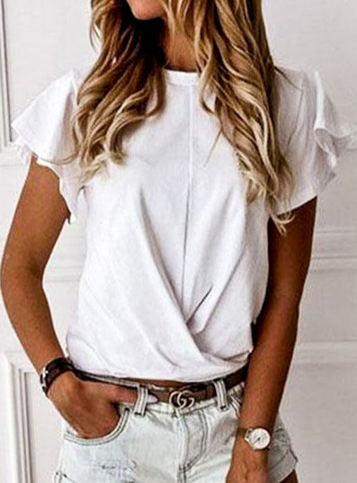 Angel Sleeve Front Knot Top