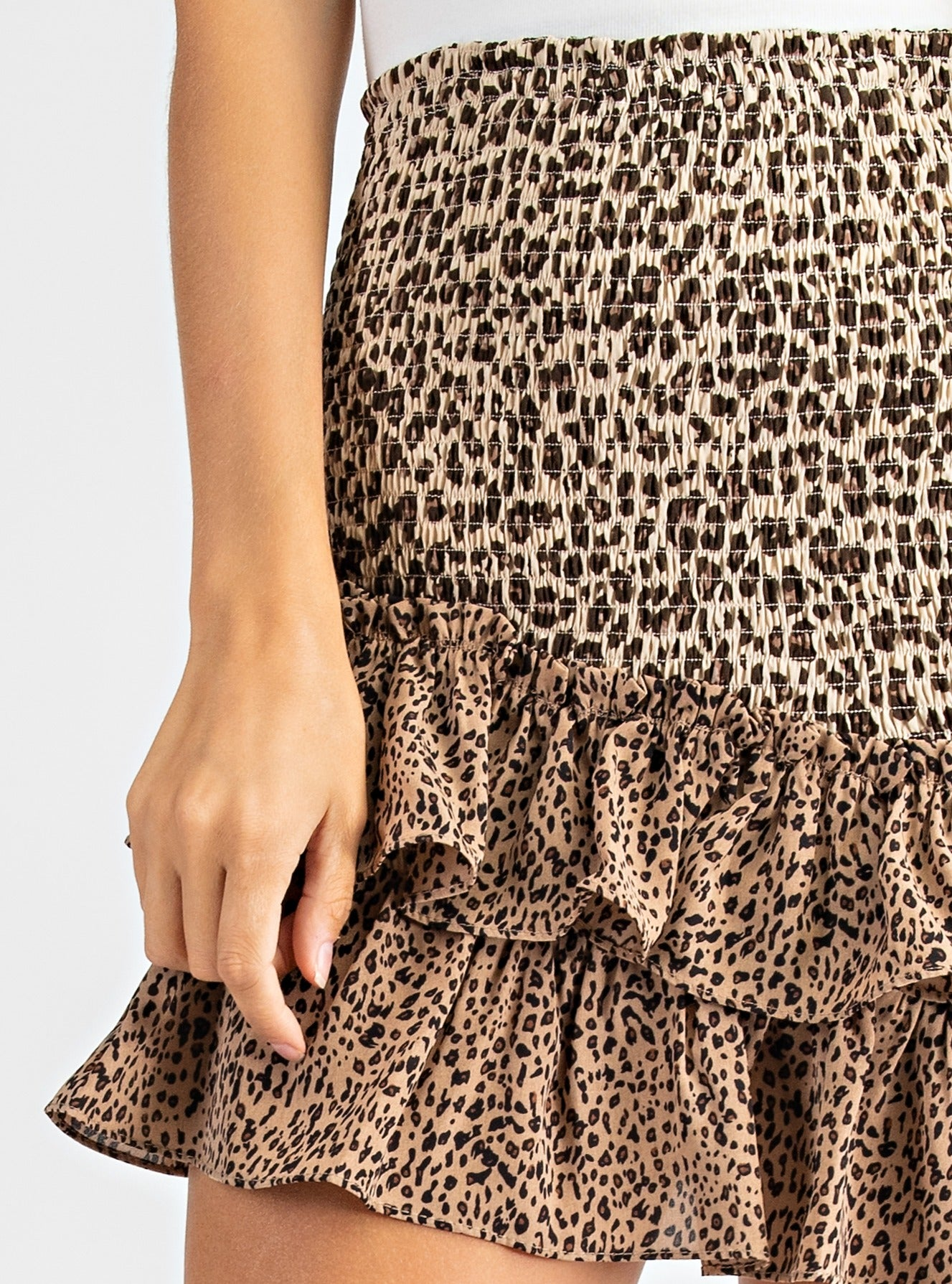 Leopard Asymmerical Smocked Skirt