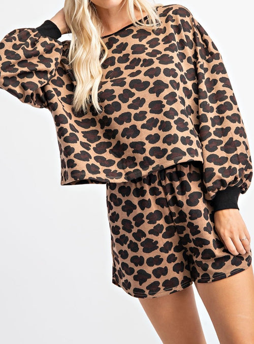 Leopard Print Pull Over Short Set