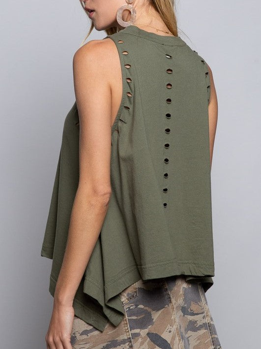 Distressed Mock Neck Sleeveless TOp