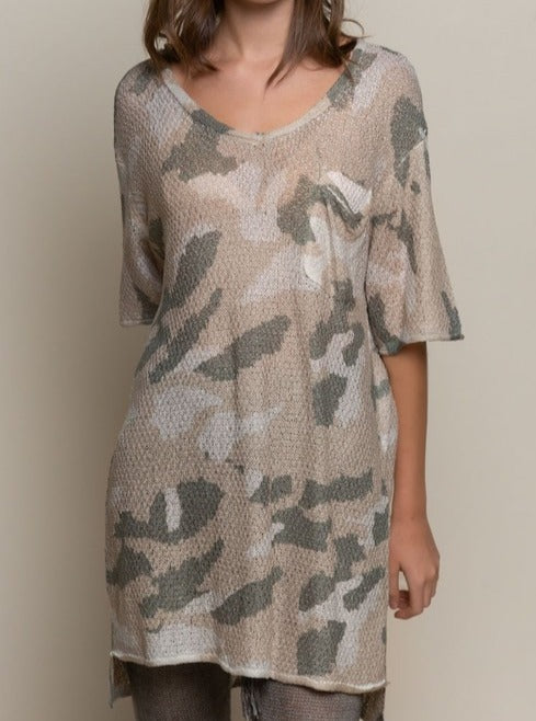 Camo V Neck Coverup / Top