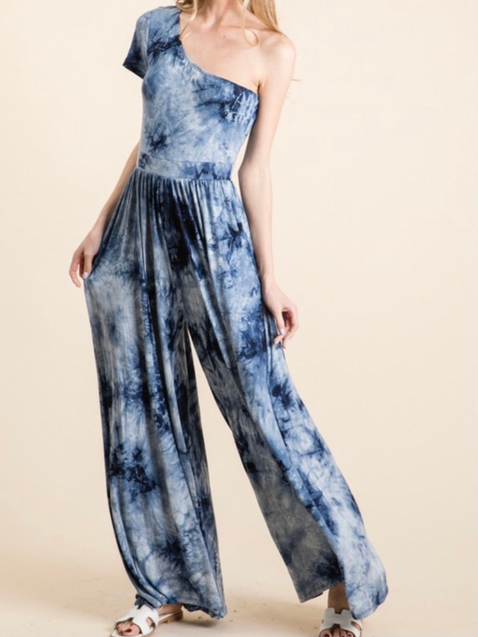 One Shoulder Navy Tie Dye Jumpsuit