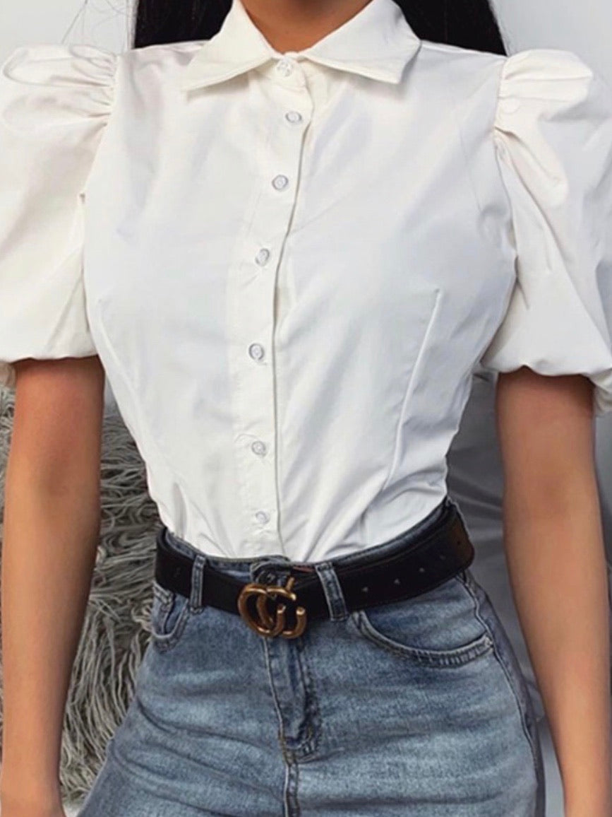 White Collar Button Up Puff Sleeve Blouse