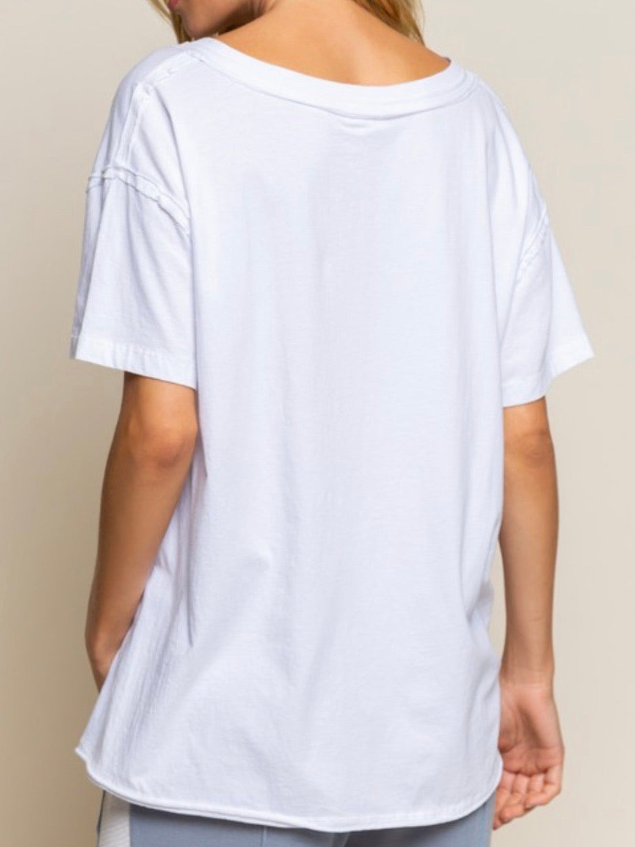 Pocket Detail Oversized Tee