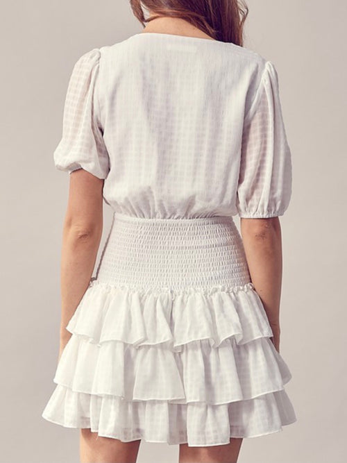 Ruffled Detail Smocked Mini Dress