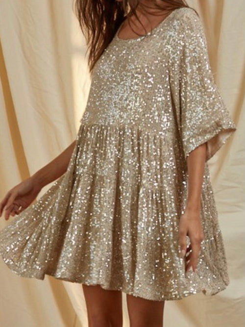 Sequins Tiered Mini Dress