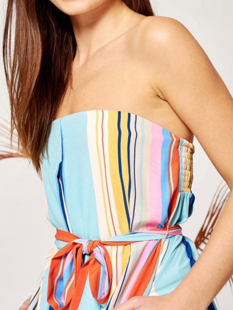 Wide Leg Striped Strapless jumpsuit