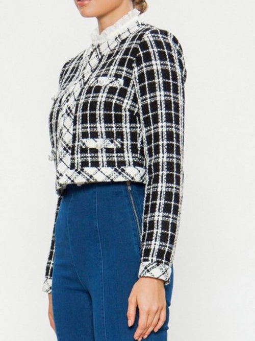 Plaid Tweed Short Blazer